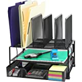 SimpleHouseware Mesh Desk Organizer with Sliding Drawer, Double Tray and 5 Upright Sections, Black