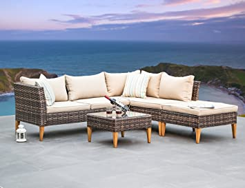 Patio Furniture Set Outdoor Wicker Sectional Sofa   4 Piece All Weather PE  Rattan Deep Seating