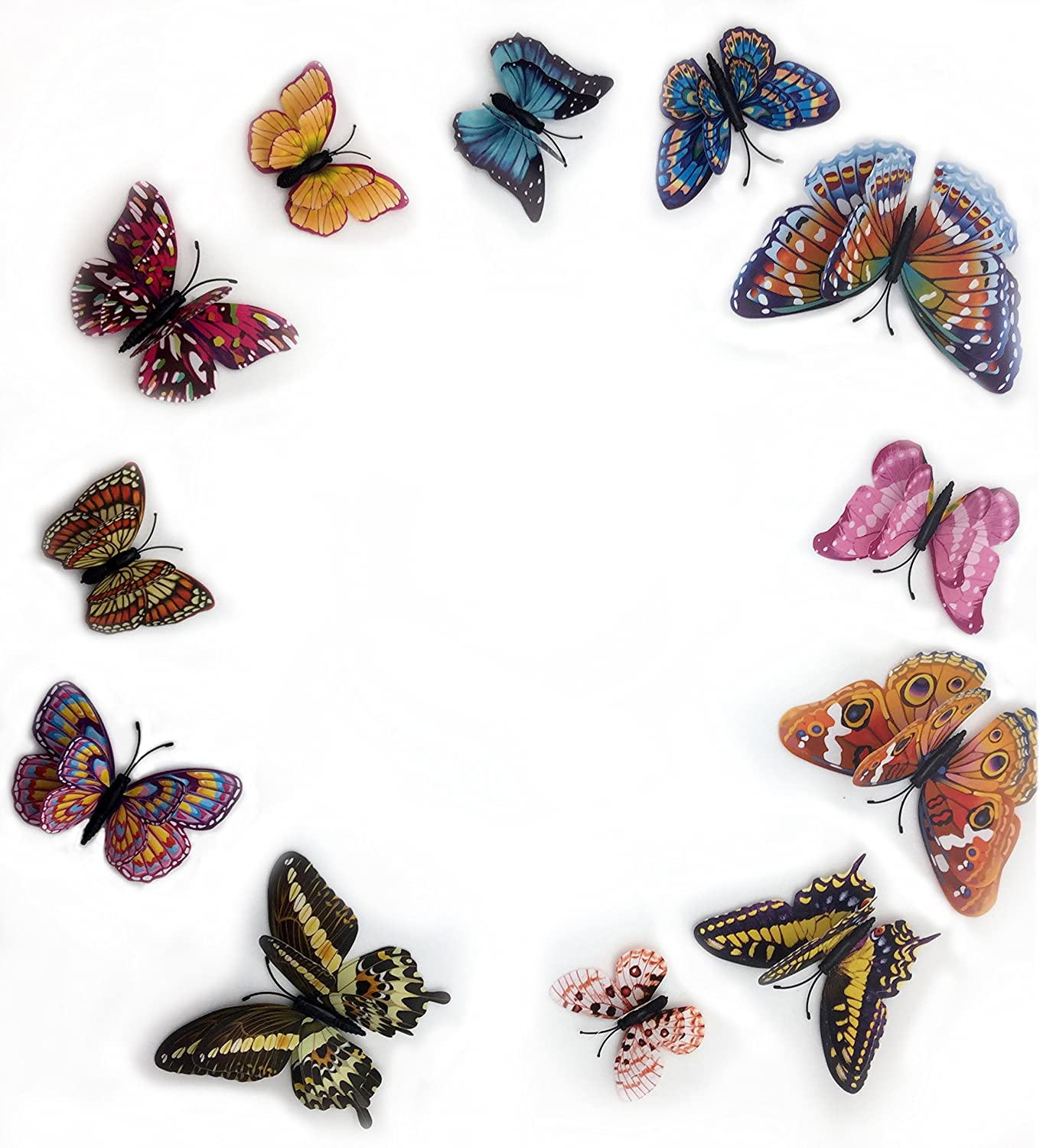 Removable Diy 3d Colorful Butterfly Wall Sticker Murals Wall Decals Wall Decorations Art Decor Decoration for Nursery Room Classroom Offices Kids Bedroom Bathroom Living Room