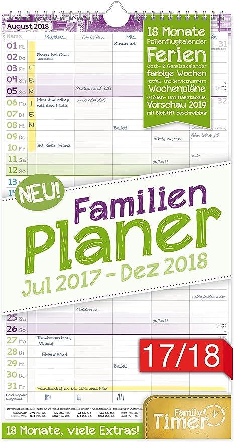 FamilienPlaner 20172018 23x42cm, 5 Spalten, Wandkalender 18 Monate Juli 2017 Dezember 2018 Wandplaner, Familienkalender, Ferientermine, viele