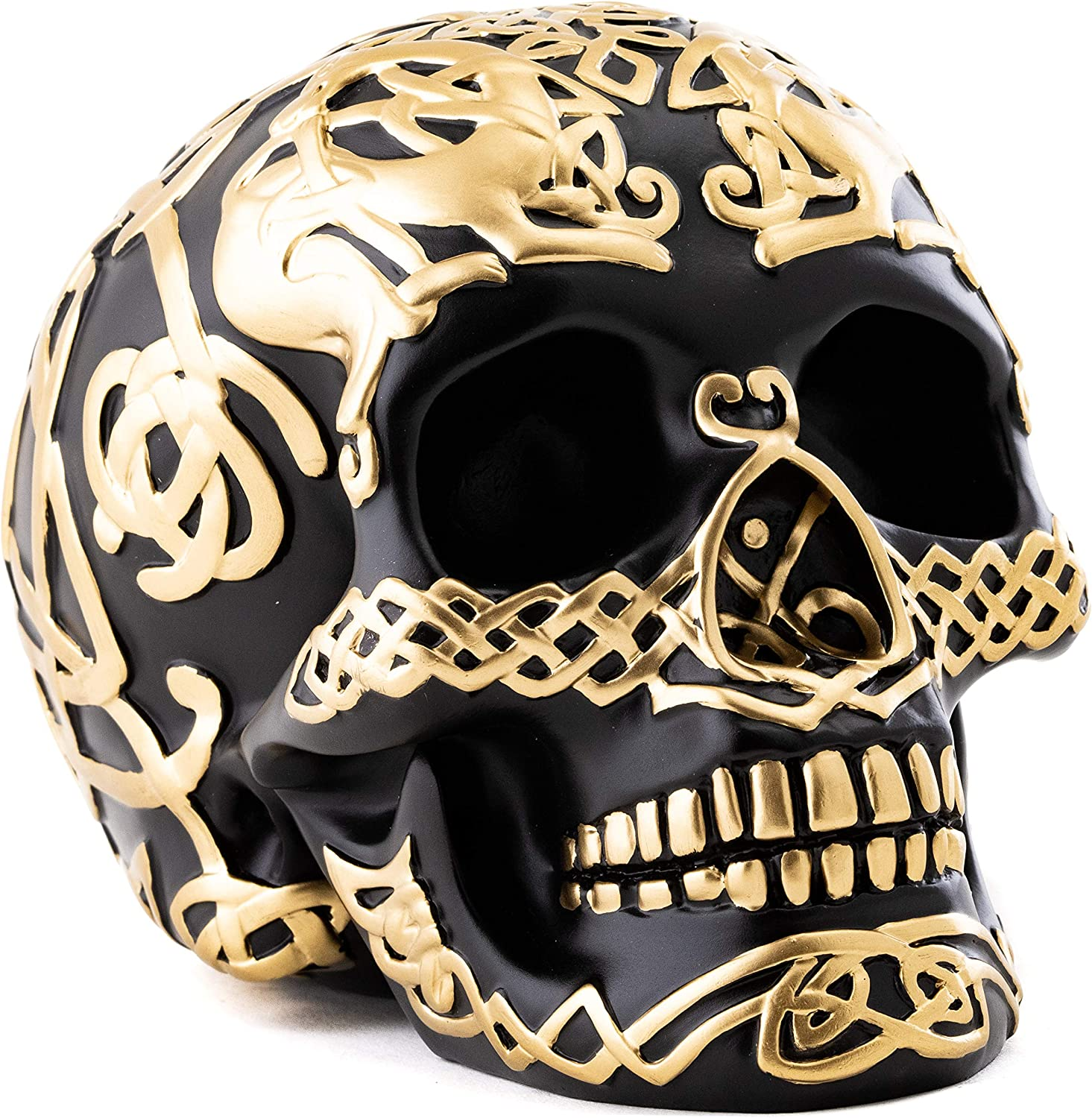 Top Collection Gothic Black and Gold Human Skull Head - Hand-Painted Resin Black Decorative Skull Sculpture with Gold Accents - 4.75-Inch Collectible Figurine (Celtic Black & Gold)