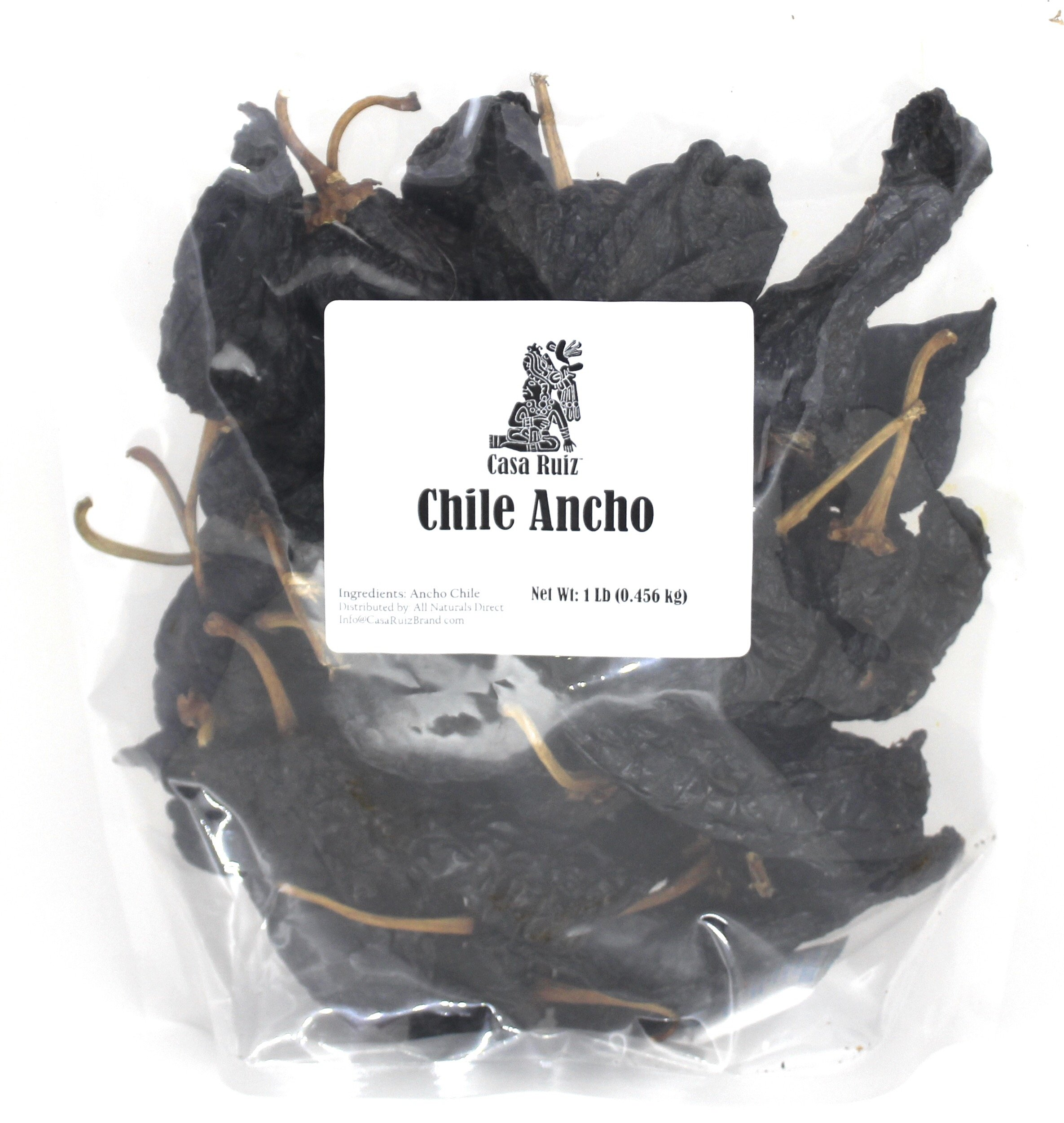 Casa Ruiz Brand Chile Ancho - 1lb RESEALABLE Bag - Ancho Chili Peppers - Dried Pablano Pepper - Mild to Medium Heat - Sweet & Smoky Flavor