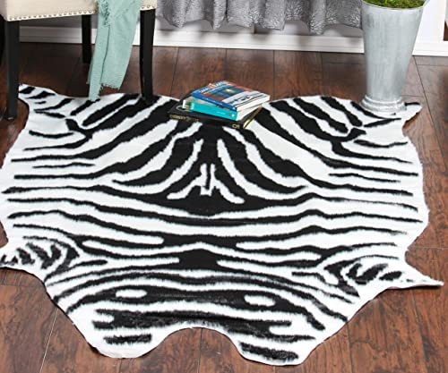 Home Must Haves White Black Faux Cow Hide Skin Area Rug 5 x 6 6