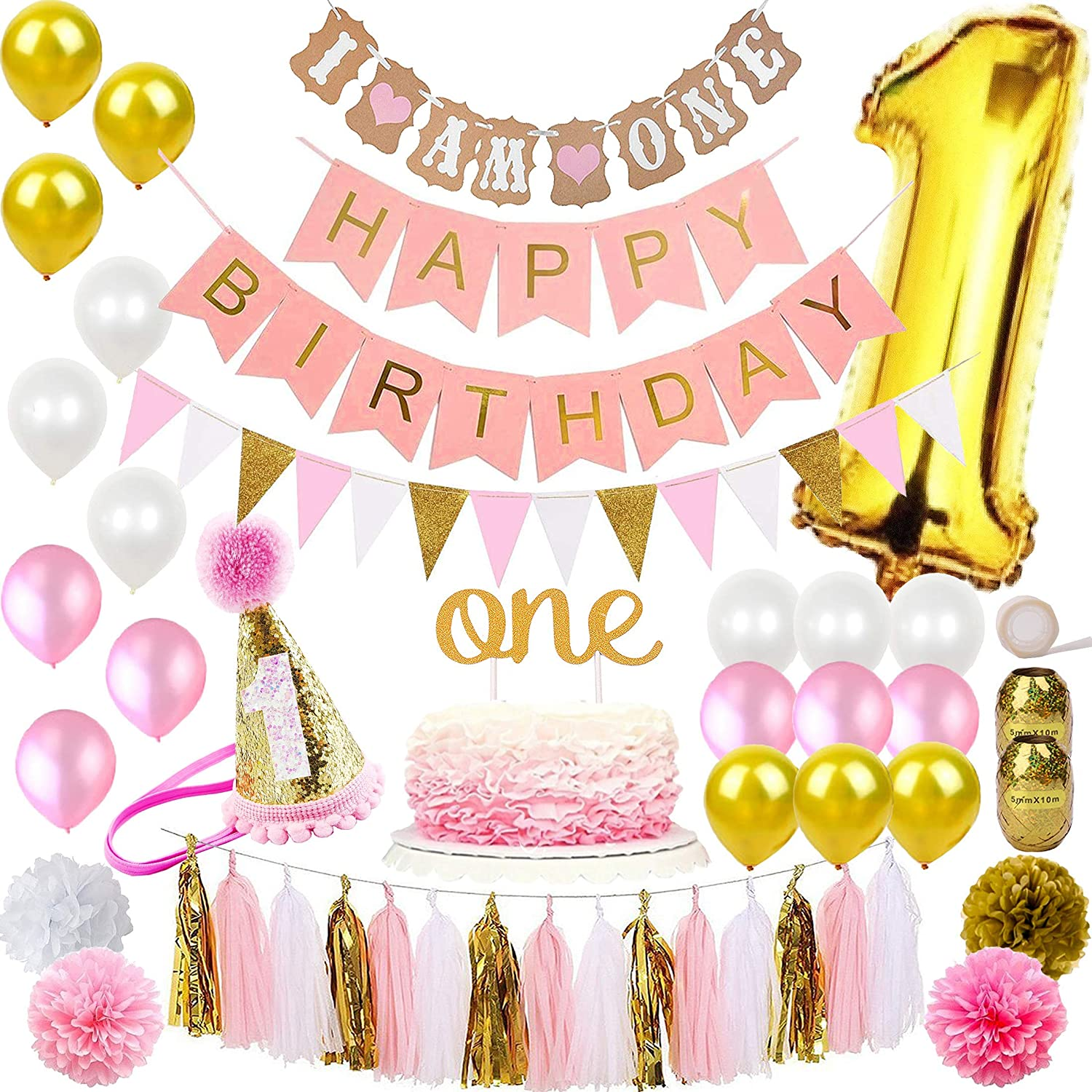 FunDeco Party 1st Birthday Decorations For Girl Mega Bundle