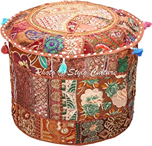 Stylo Culture Ethnic Pouffe Footstool Cover Round Patchwork Embroidered Pouf Ottoman Brown Cotton Floral Traditional Furniture Seat Puff (18x18x13) Bean Bag Living Room Decor