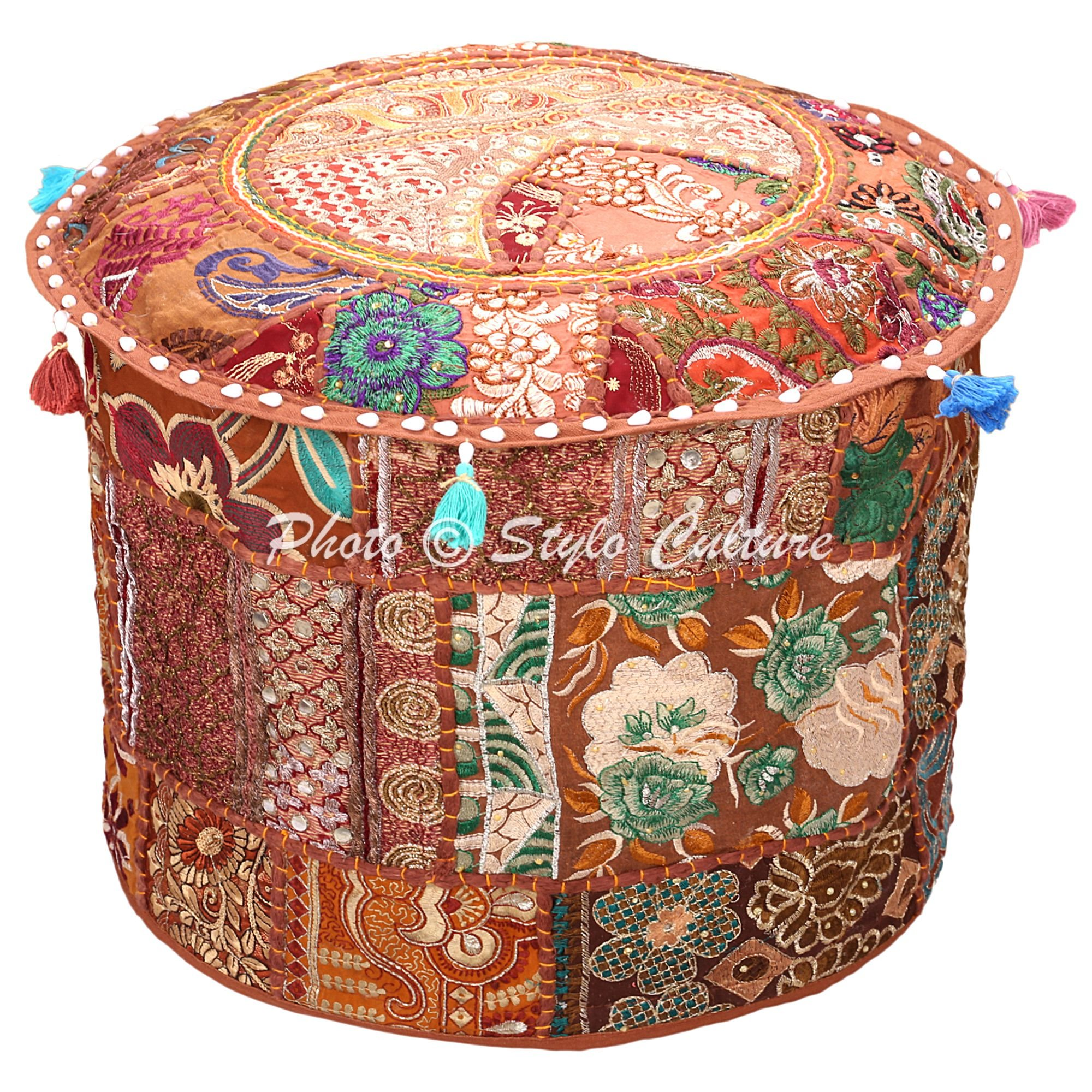 Stylo Culture Ethnic Pouffe Footstool Cover Round Patchwork Embroidered Pouf Ottoman Cover Brown Cotton Floral Traditional Furniture Footstool Seat Puff Cover (18x18x13)