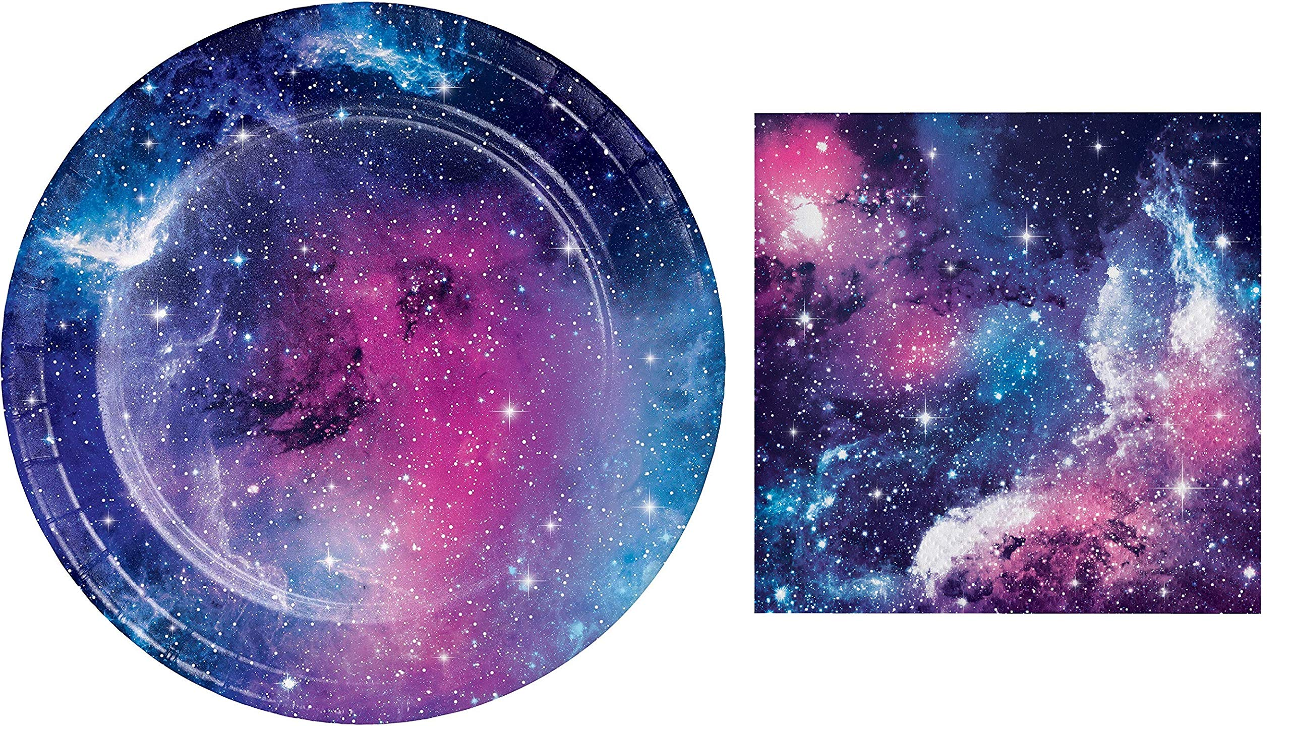 Galaxy Party Dessert Plates (16) and Beverage Napkins (16) Bundle