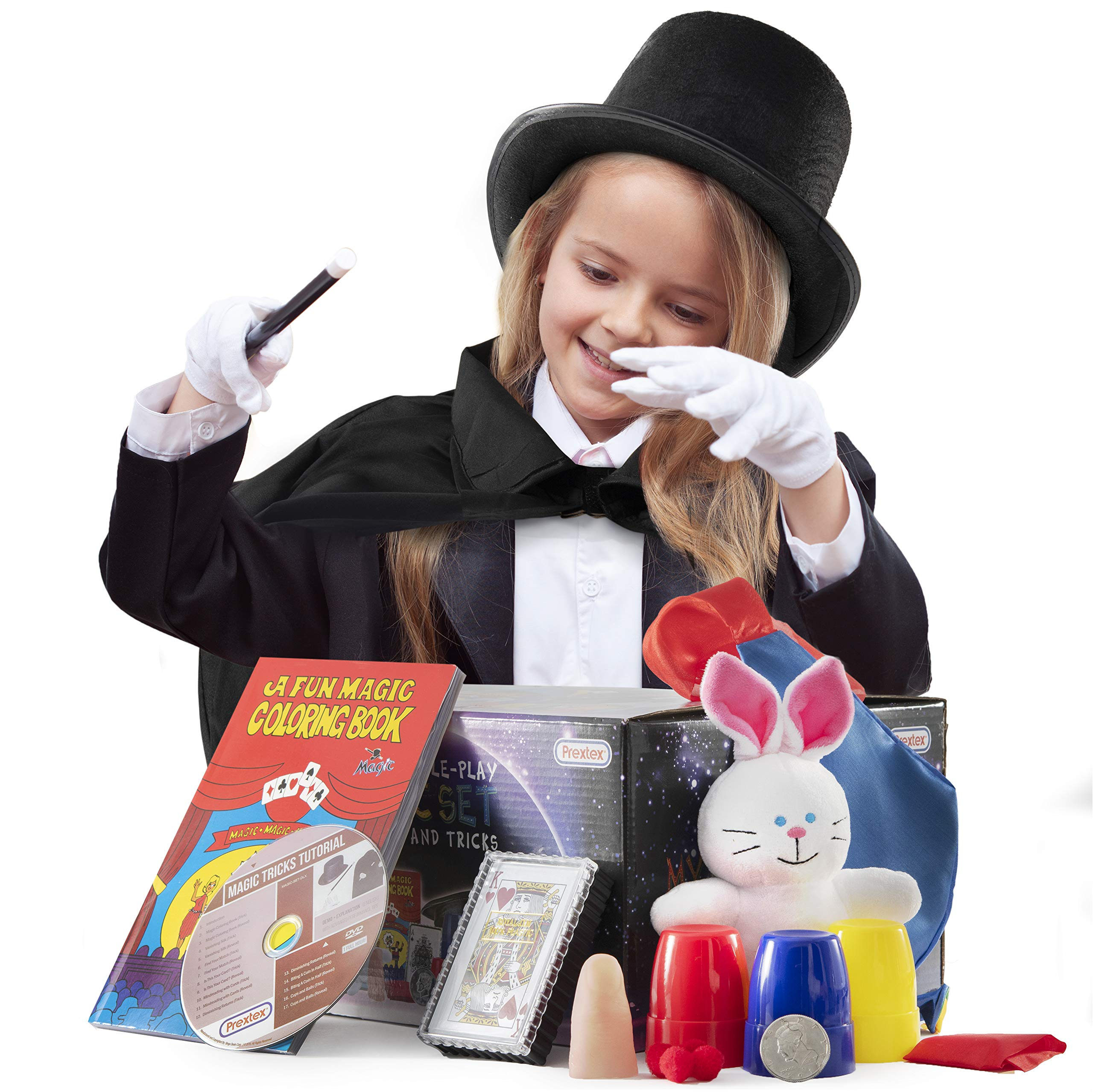 Prextex Kiddie Magician Role Play Costume and Tricks Set for Kids - Pretend Play Dress Up Set with Exciting Magic Trick Props and 1 Full Hour Training Instruction DVD by Prextex