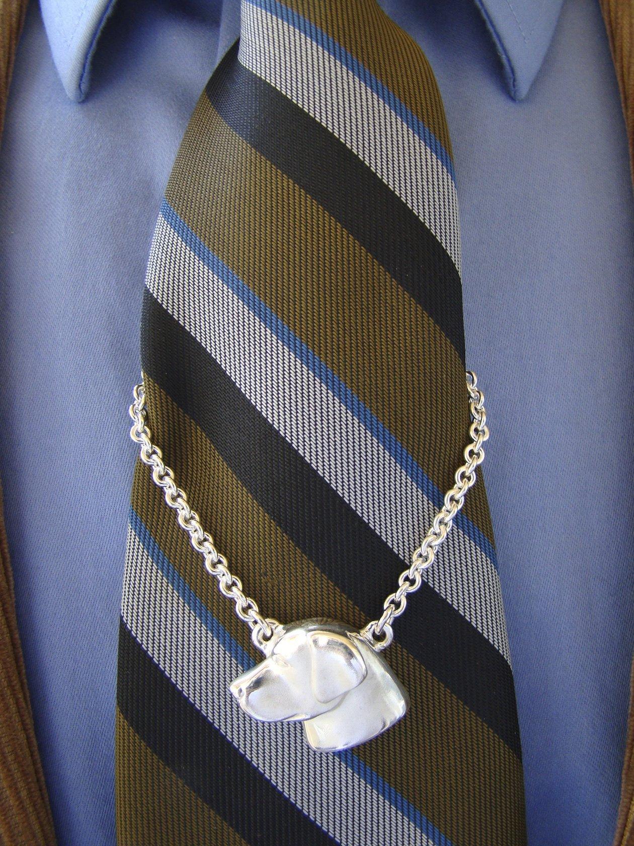 Large Sterling Silver Labrador Retriever Head Study Tie Chain