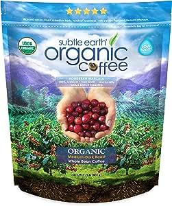 Subtle Earth USDA Organic Whole Bean Coffee Honduran Marcala Medium-Dark Roast Bag 907 Grams