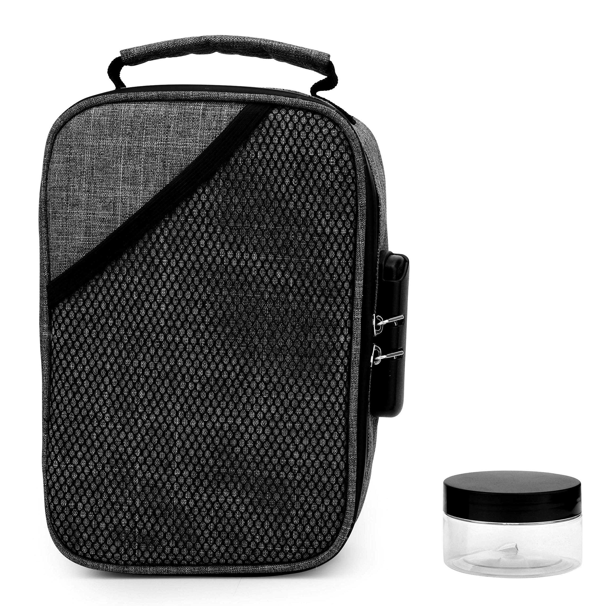 Smell Proof Bags by Hydroflyy - (Secure) Combination Lock and Large Storage Capacity, Keep Your Herb Stash, Jar, Weed, Vapes, Grinder and Rolling Papers in a Safe Place Plus Extra Smell Proof Jar.