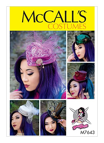 Steampunk Sewing Patterns- Dresses, Coats, Plus Sizes, Men's Patterns McCalls Pattern M7643 Fascinators Five Hats by Yaya Han One Size $12.95 AT vintagedancer.com