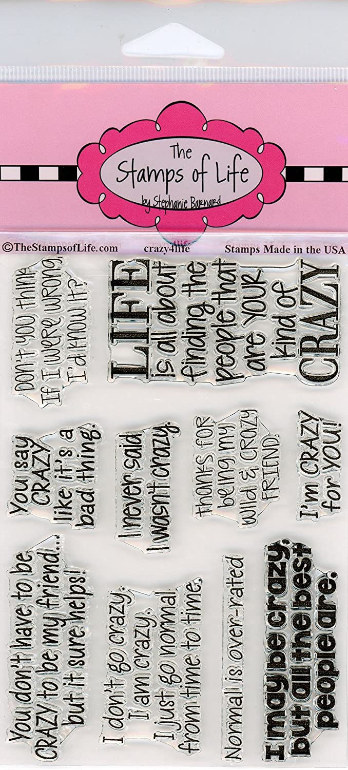 The Stamps of Life Crazy4Life Fun Sentiment Stamps for Card-Making and for Scrapbooking by Stephanie Barnard