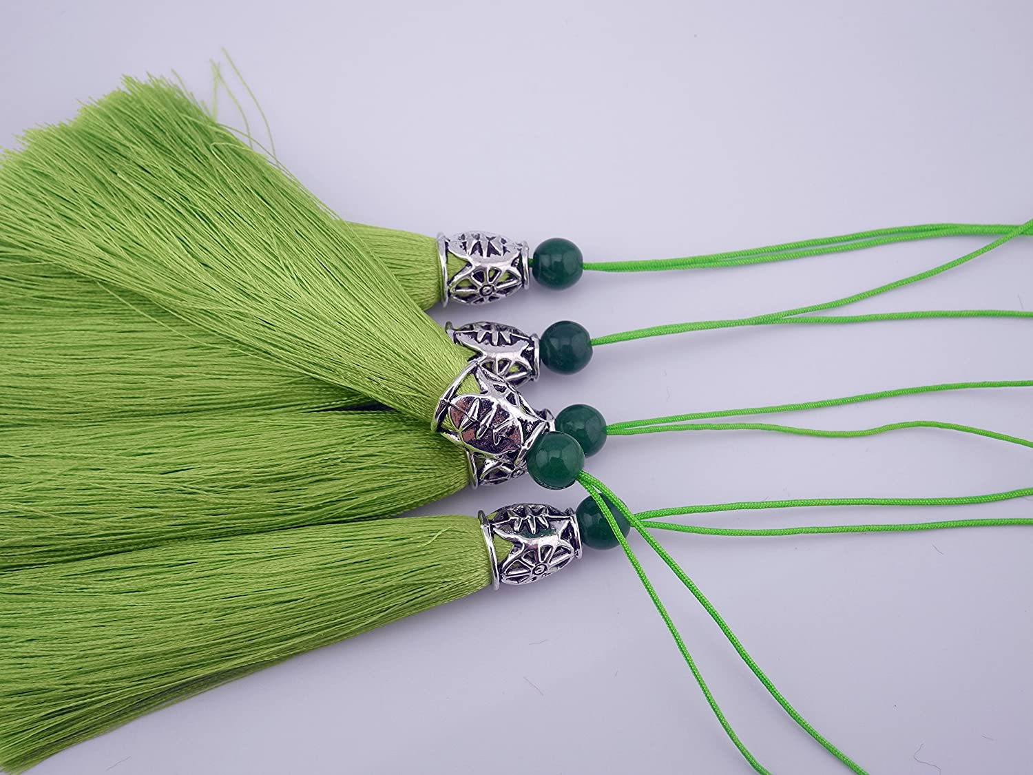 10pcs 3.6\'\'(9.0cm) Soft Silk Tassels for Jewelry with Hollowed Antique Silver Cap and Jade Beads (Lavender) Sansam