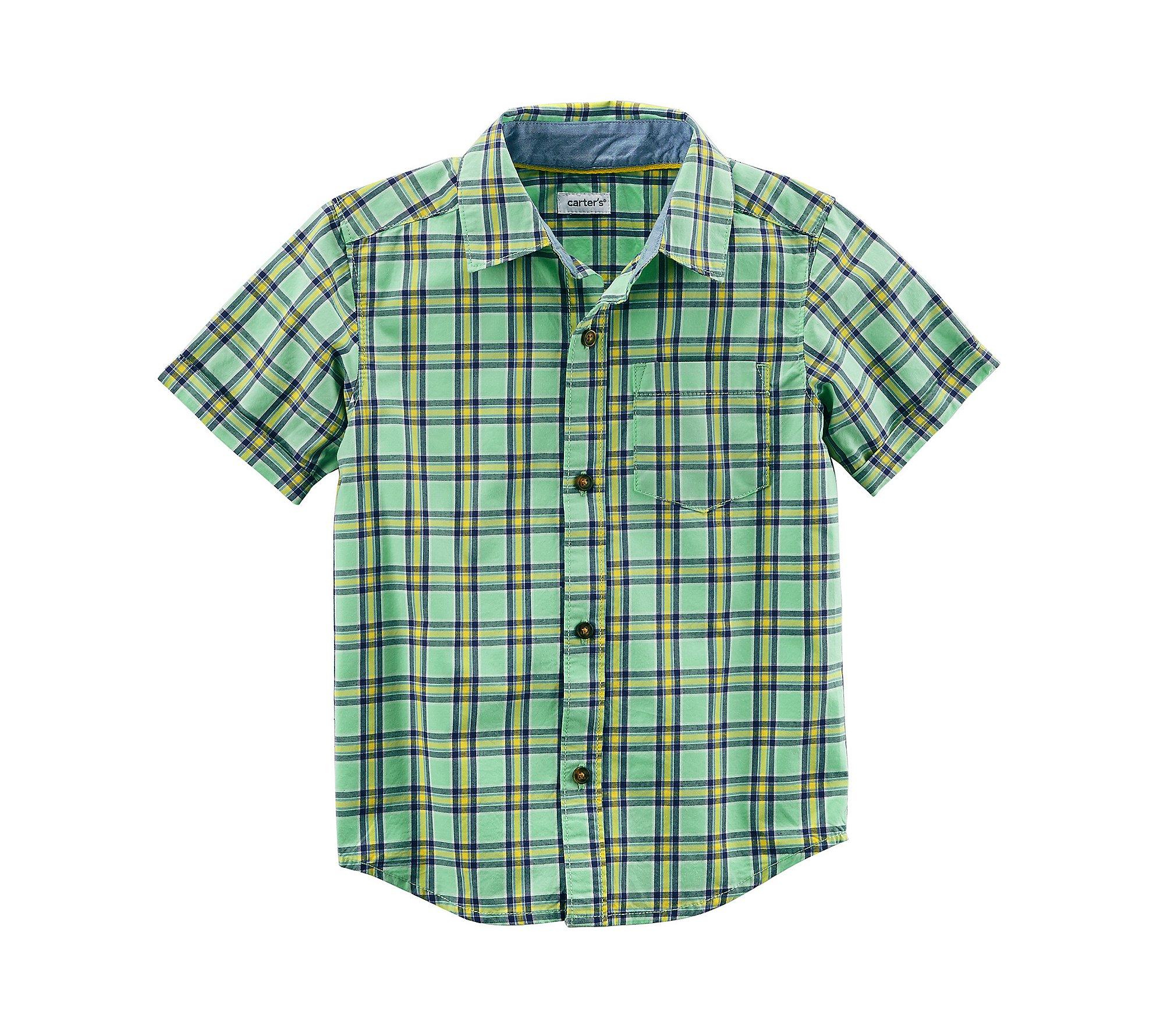Carter's Boys' 2T-8 Short Sleeve Woven Plaid Button up Top 4-5