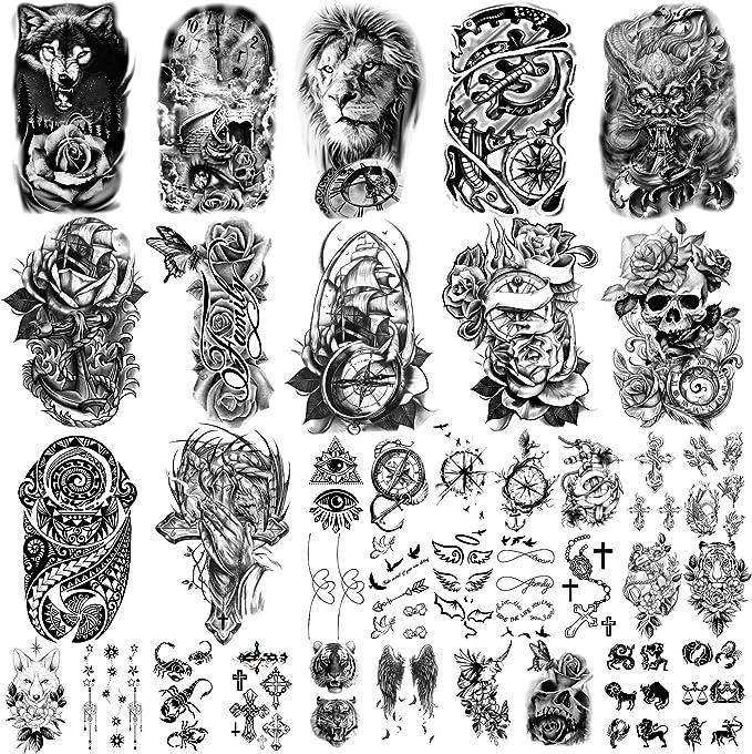 36 hojas de pegatinas de tatuajes temporales, 12 hojas de tatuajes falsos de cuerpo, brazo, pecho, hombro, tatuajes para hombres o mujeres con 24 ...