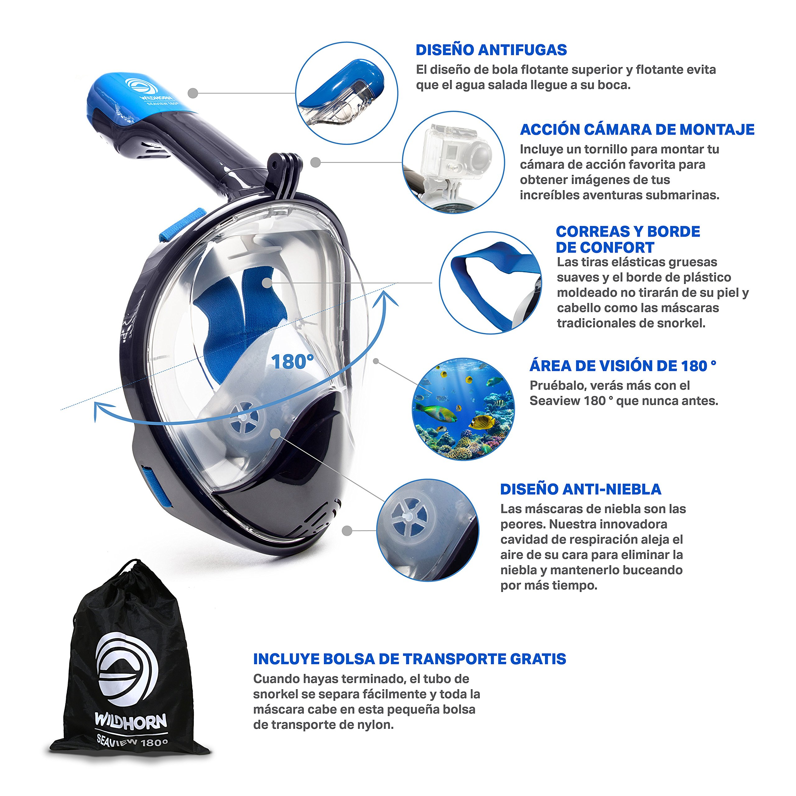 WildHorn Outfitters Seaview 180 Degree Panoramic Snorkel Mask- Full Face Design,Panoramic Navy Blue/Gray,Small/Medium by WildHorn Outfitters (Image #3)
