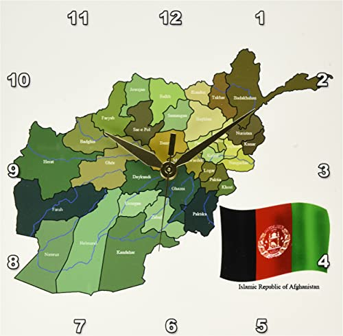 3dRose DPP_99098_1 The Map and Flag of The Islamic Republic of Afghanistan with All The Provinces Marked-Wall Clock, 10 by 10-Inch
