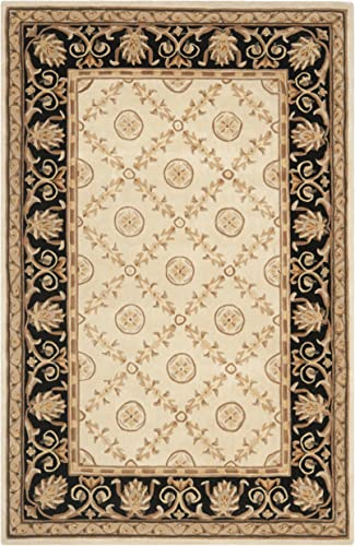 Safavieh Naples Collection NA521A Handmade Ivory and Black Wool Area Rug