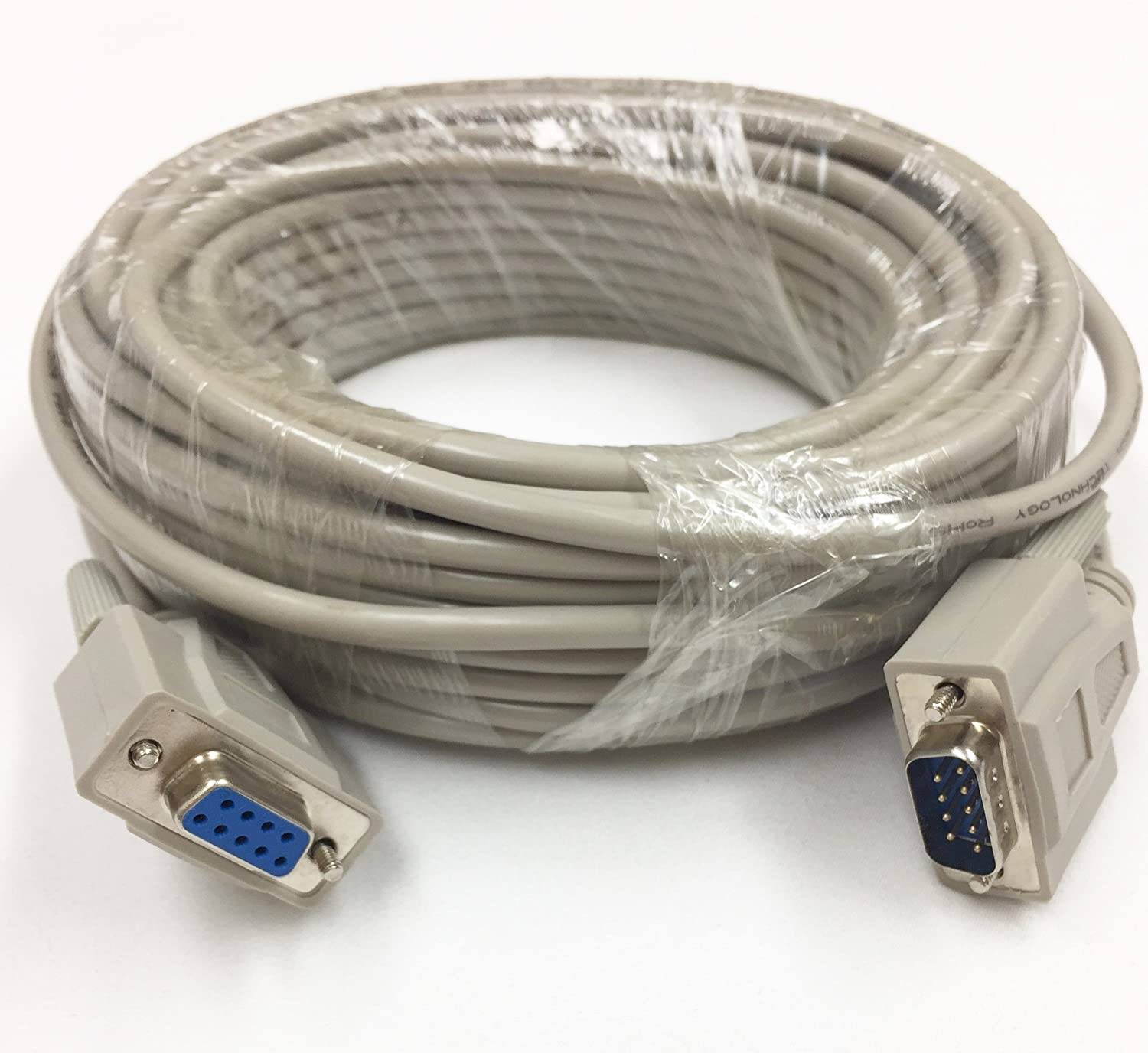 50 Foot Db9 Male To Female Extension Rs232 Serial Cable Home Modem Cables Ul Computers Accessories