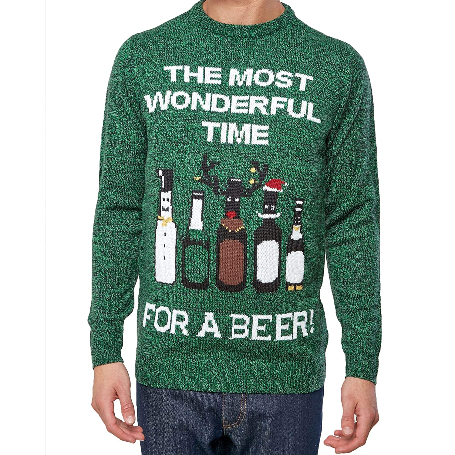 Christmas Jumper Men's The Most Wonderful Time for A Beer - Green MW05945