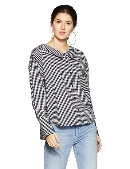 3aed86909e Forever 21 Women s Checkered Slim Fit Shirt  Amazon.in  Clothing ...