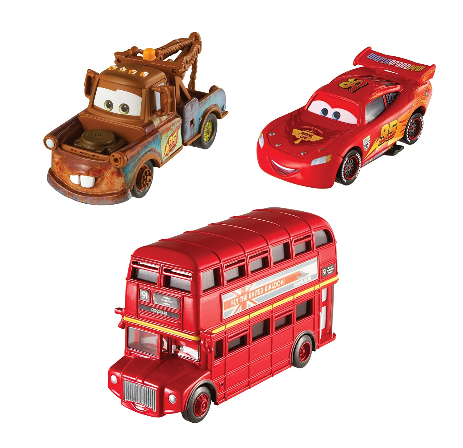amazon com cars 2 collector double decker bus mater and