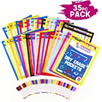 """Dry Erase Pockets 35pc [10"""" x 13""""] +Free PENS +Bonus 900 Downloadable Worksheets! Write and Wipe Reusable Plastic Sheet Protectors for Classroom Organization & Teaching Supplies by Teachers Toolbox"""