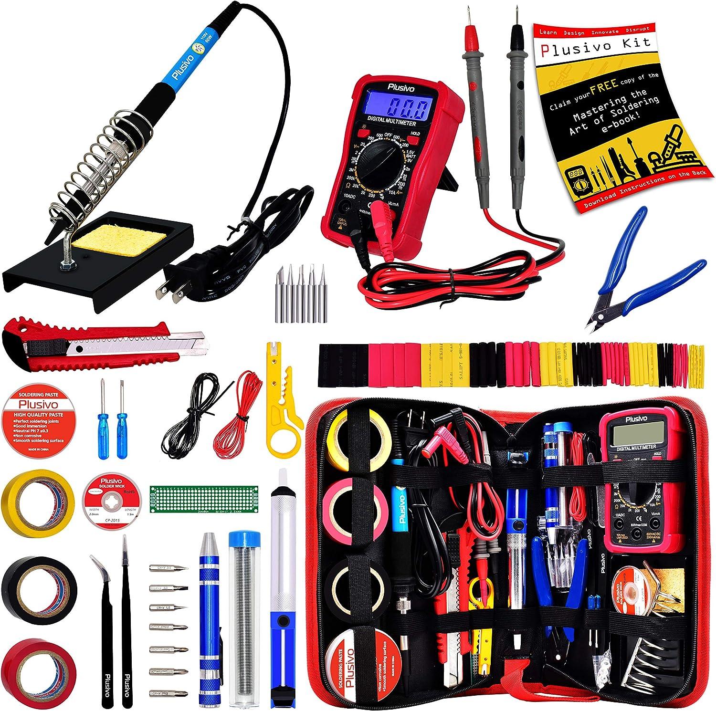 Adjustable Temperature Soldering Iron Kit 220V 60W Digital Multimeter O7T8