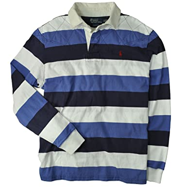 ac6c6ec6acd Polo Ralph Lauren Men's Custom Fit Striped Rugby, Bright Blue Multi, ...