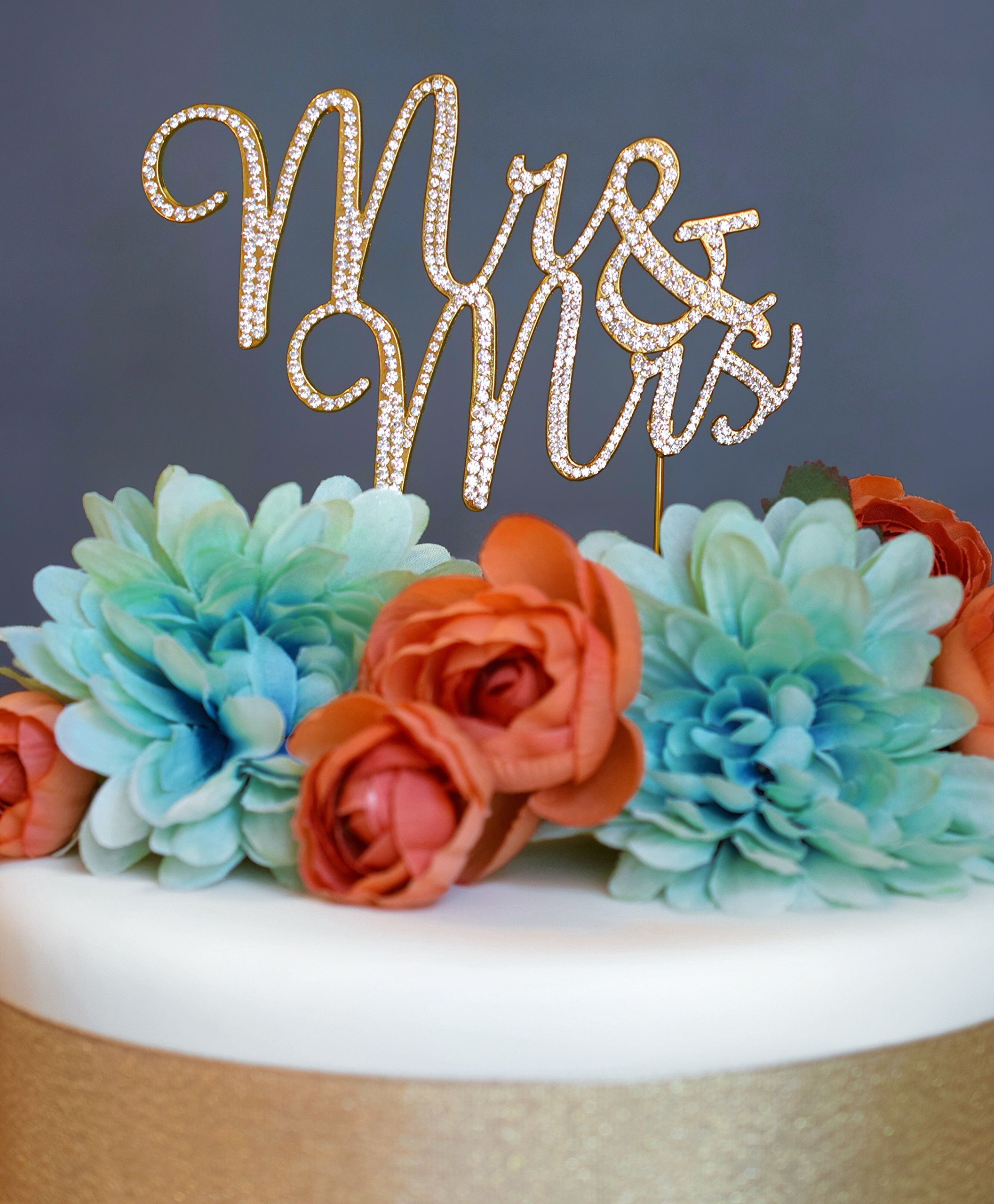 Mr and Mrs GOLD Cake Topper - Premium Crystal Rhinestones - Wedding Bridal Shower or Anniversary Cake Topper (Mr & Mrs Gold)