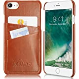 KAVAJ iPhone 8 iPhone 7 Hülle Leder Tokyo Cognac-Braun für iPhone 7 iPhone 8 Lederhülle mit Kartenfach für Original Apple iPhone8 iPhone7 aus Echtleder Case Leder Ledercase Ledertasche Handyhülle
