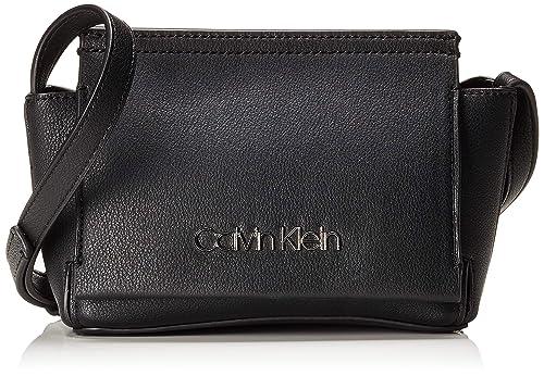 4117652fe5 Calvin Klein Stitch Flap Crossbody, Women's Cross-Body Bag, Black, 8x29x14.