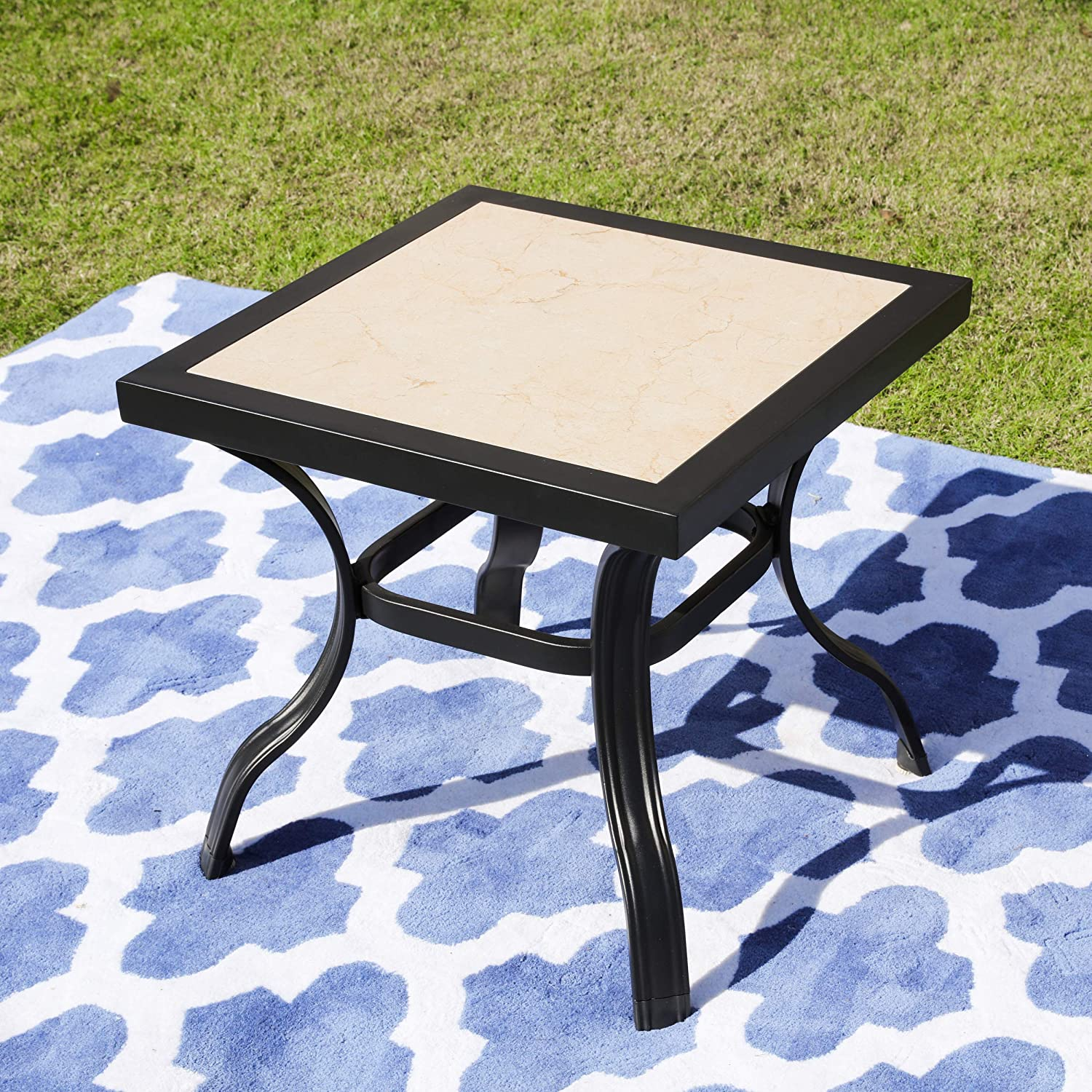 """LOKATSE HOME 21"""" Outdoor Square Patio Dining Table Metal Steel Legs with Ceramics Top, Black"""