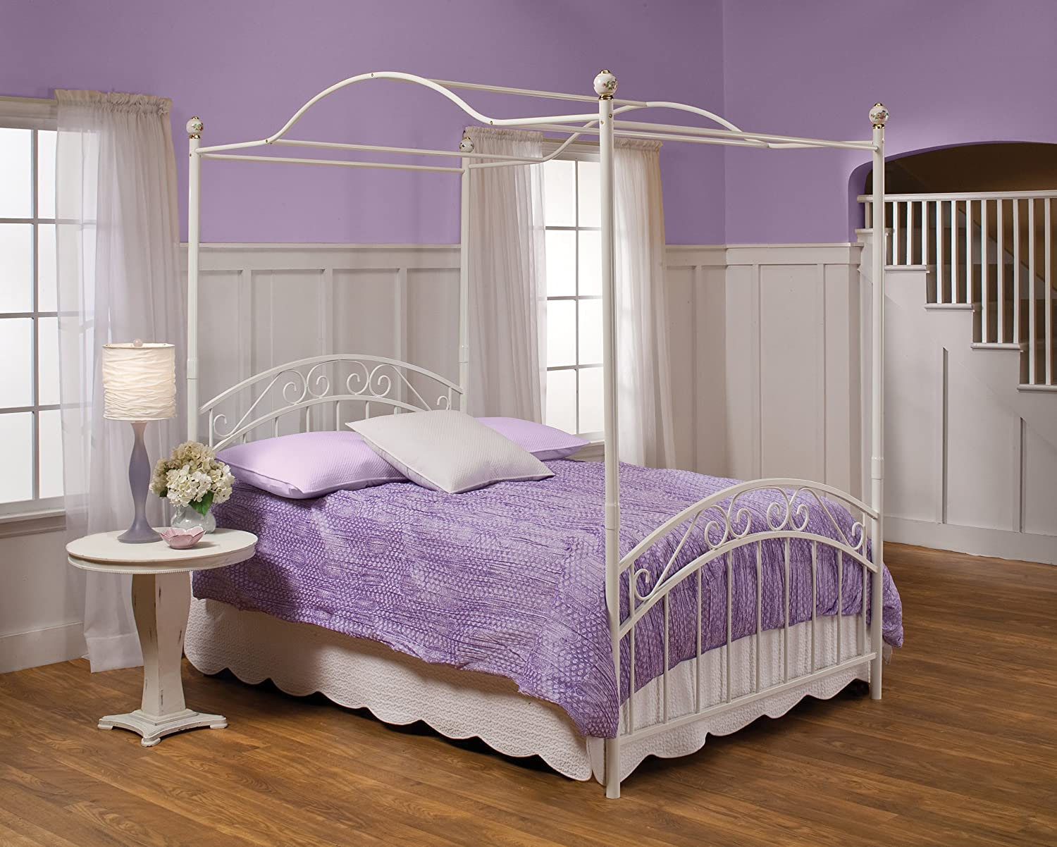 Amazon.com Hillsdale Furniture 11180BTWPR Emily Bed Set with Canopy and Rails Twin White Kitchen u0026 Dining & Amazon.com: Hillsdale Furniture 11180BTWPR Emily Bed Set with ...