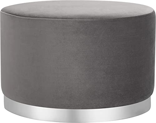 BIRDROCK HOME Round Grey Velvet Ottoman Foot Stool Soft Large Padded Stool Silver Trim – Coffee Table – Great for The Living Room or Bedroom Decorative Furniture Foot Rest
