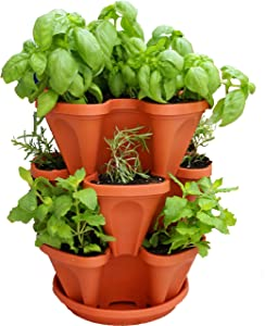 3 Tiered Stackable Indoor Outdoor Vertical Herb Planter - Learn How to Grow Organic Herbs Easy with These Terra Cotta Plastic Containers - Great Garden Planting Pots - Planters Also Used for Strawberries Peppers Flowers Tomatoes Succulents Green Beans Hydroponics - Free Growing Gardening Plant Tips