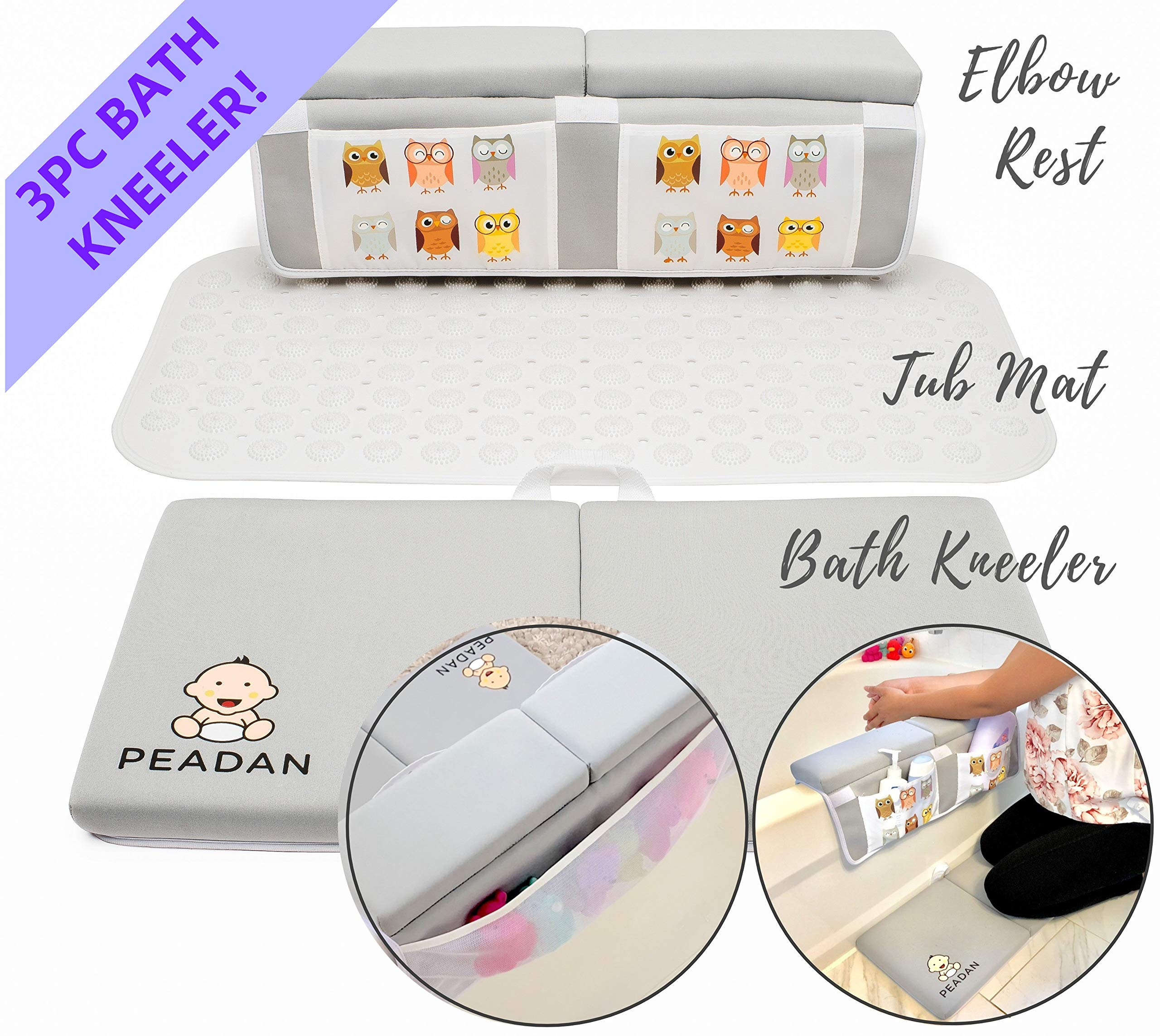 3-Piece Baby Bath Time Essentials Set w/Bath Kneeler, Elbow Rest Toy Storage & Non-Slip Tub Mat, 4 Suction Cups, Fun owl Design w/Large Pockets for Bathing Essentials & Toy Storage by PEADAN KIDS