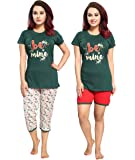 TUCUTE Women/Girls Cotton Hosiery 3 pcs Top, Capri & Shorts Nightwear/Nighty/Nightsuit/Loungewear/Nightsuit (Top,Capri & Shorts) Size:Large Bust Size 38""