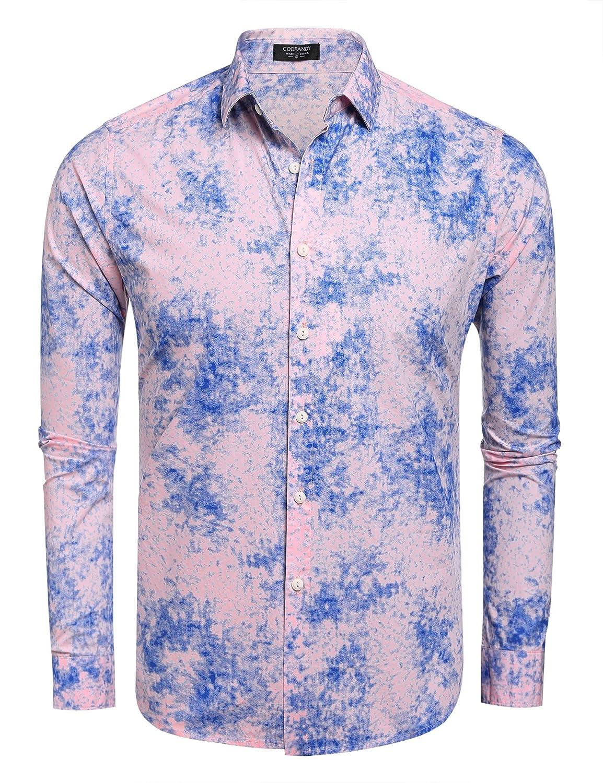 COOFANDY Men's Fashion Print Casual Long Sleeve Button Down Shirt ZSJ005648
