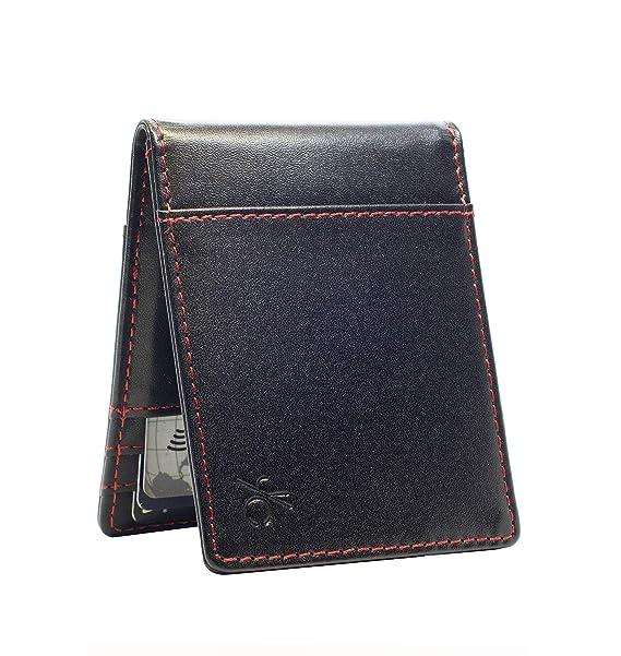 b340c89553be Slim Genuine Leather RFID Blocking Minimalist Wallet for Men, Bifold Front  Pocket
