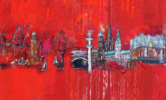 Kunstdruck Auf Leinwand, Fertig Bespannt! Hamburg Skyline Mit  Elbphilharmonie