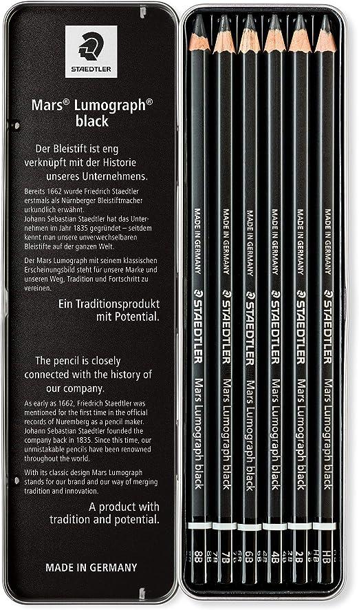 0,99€//Stück Mars Lumograph Black 6er Etui Hochwertiger Künstlerbleistift