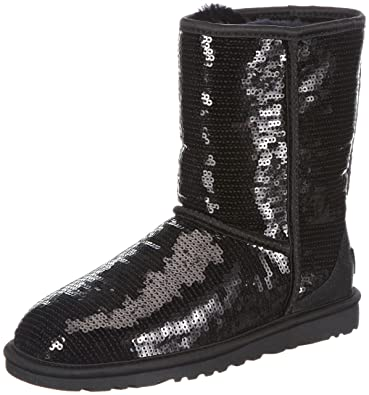 UGG Women's Classic Short Sparkles, Black, 7 B-Medium