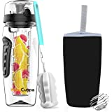 InstaCuppa Fruit Infuser Water Bottle 1 Litre, Tritan Infusion Unit, Detox Infused Recipes eBook, Carry Sleeve Cover (Black)