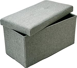 Simplify Kennedy Home Collection 30-Inch Jute Linen Look Folding Storage Ottoman, Grey