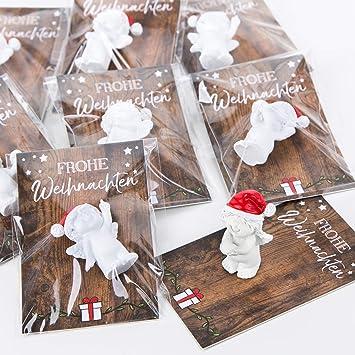 Weihnachtsgeschenke Kollegen.20 Kleine Mini Geschenke Engel Santa Nikolaus Weihnachtsmann Rot Weiß Mit Karte Frohe Weihnachten Give Away Mitgebsel Kunden Kollegen Mitarbeiter