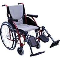 Karman Healthcare Wheelchair 25 Pounds 16-Inch x17-Inch with Elevating Legrest, Rose Red, (S-ERGO115F16R-E)
