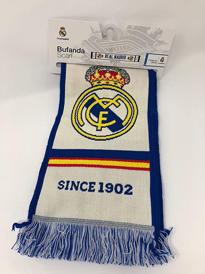 Bufanda Real Madrid - Telar color Blanco   Azul -