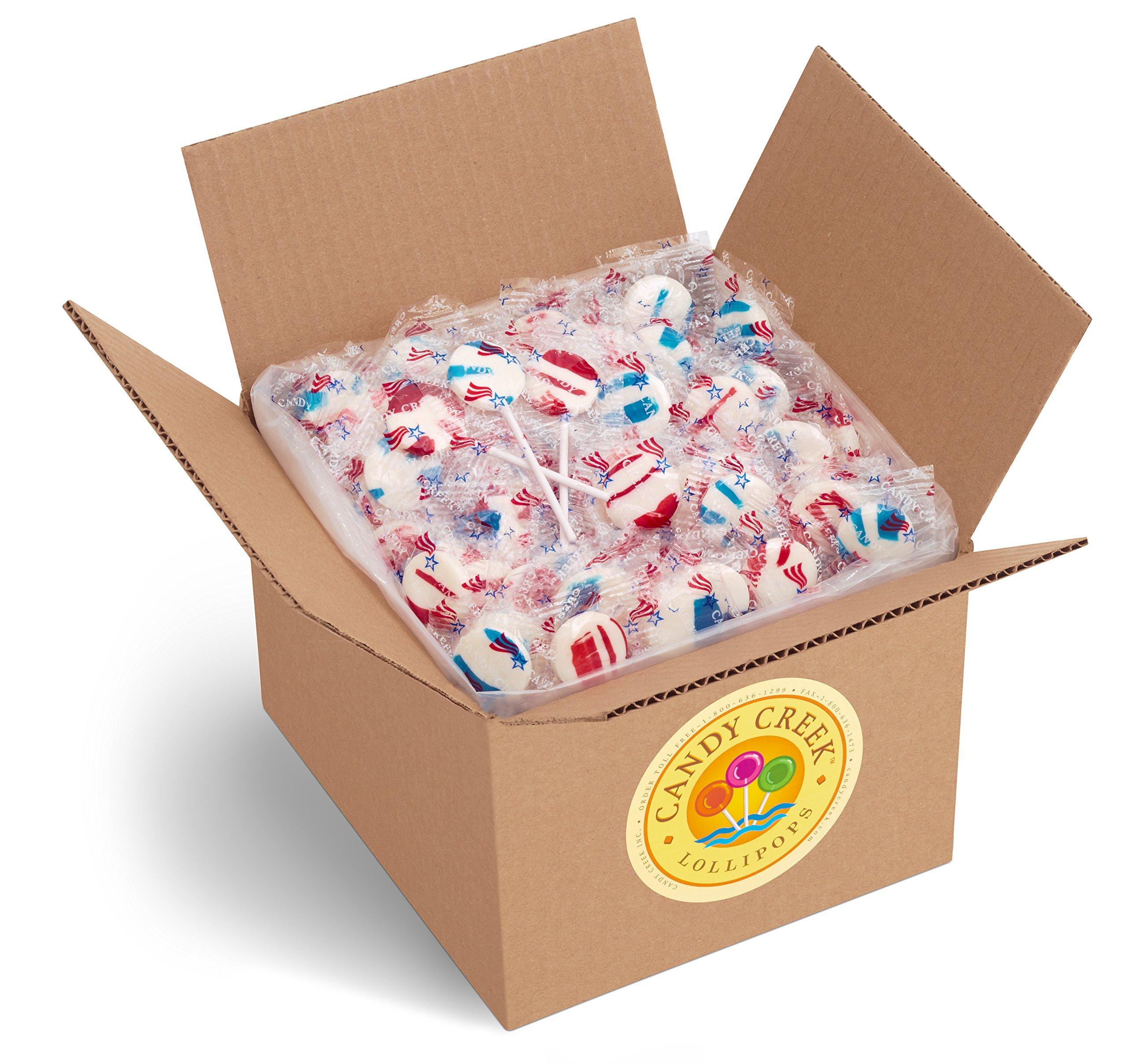 Candy Creek Patriotic Lollipops, Bulk 5 lb. Carton
